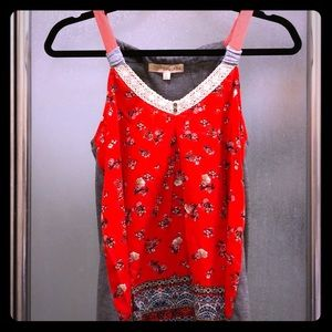 Red Flowy Tank Top, size small